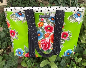 The Senorita---mexican floral print on acid green oilcloth tote bag