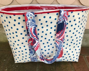 Large blue polka dot and red stripe oilcloth tote bag