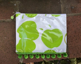 All purpose zippered pouch with green apples