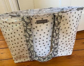 Shimmery silver gray polka dot reversible oilcloth tote bag