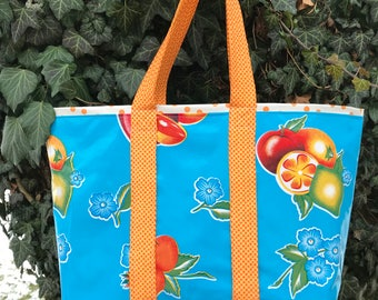Fruit salad--Large retro oilcloth tote bag with mixed fruit on sky blue