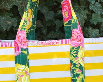 Yipes stripes funky oilcloth tote bag in yellow and white