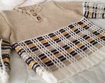 Size 18-24 months ~ Cozy Pullover with Henley neck ~ Soft Washable 100%  Merino Wool~ Beige with Brown, Gold & White Tartan/Plaid Pattern