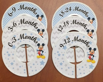 Baby Closet Dividers - Mickey Mouse blue and gray; Closet Organizers Baby Gift