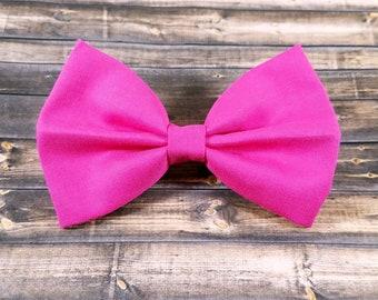 Hot Pink Hair Bow, Hot Pink Solid Hair Bow, Girls Hair Bow