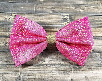 Pink and Gold Glitter Hair Bow, Pink Hair Bow, Gold Hair Bow, Girls Hair Bow,