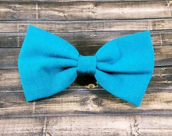 Teal Blue Hair Bow, Solid Teal Blue Hair Bow, Girls Hair Bow