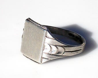 Art Deco Sterling Silver Signet Ring - Clark and Coombs