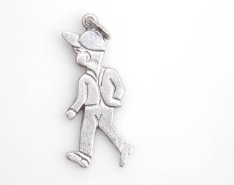 Vintage Sterling Silver Jaunty 1950's Boy with Baseball Cap