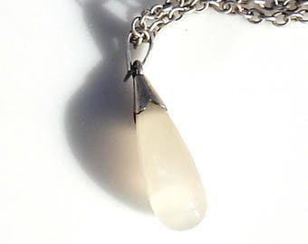 Art Deco Sterling SIlver Chalcedony Pendant with Vintage Sterling Silver Chain