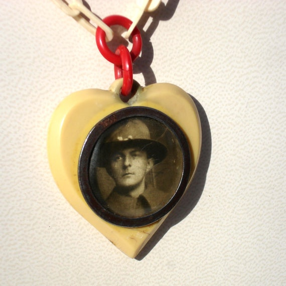 Art Deco Celluloid Heart Locket with Celluloid Cha