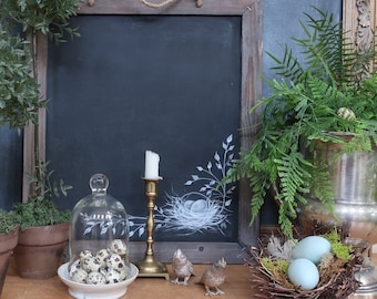 Two Sided French Country Farmhouse Christmas Chalkboard Wall Decor with Hand Painted  Joyeux Noel  and Nest Painted on The Reverse Side