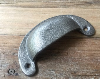 """Small  Pewter Finish Cup Drawer Bin Pull Farmhouse and Industrial Hardware 4"""""""