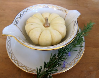 Vintage French Gravy Boat Thanksgiving Serving Piece Paris Chic White and Gold Traditional Thanksgiving