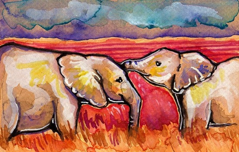 African Elephants Watercolor Painting Print Artist-Signed image 0