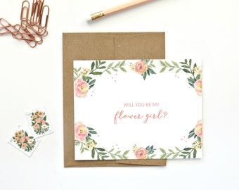 Flower Girl Card - Will You Be My Flower Girl - Wedding Party Card - Floral Card with Envelope