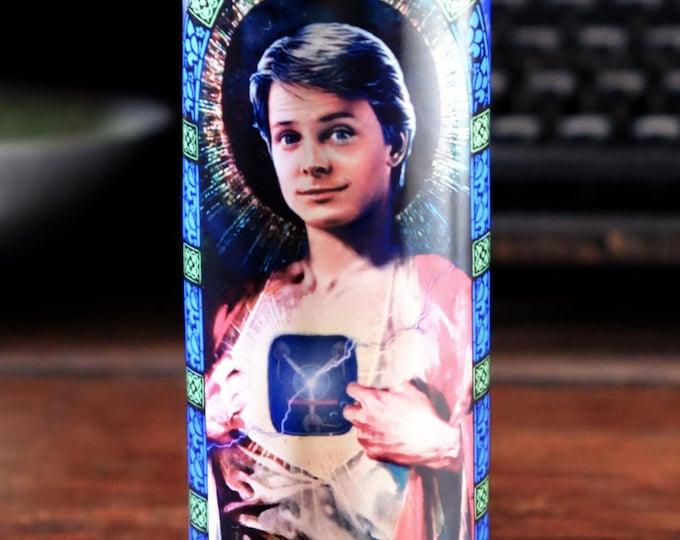 Patron Saint of Time Travel Prayer Candle / Parody art / Fan art