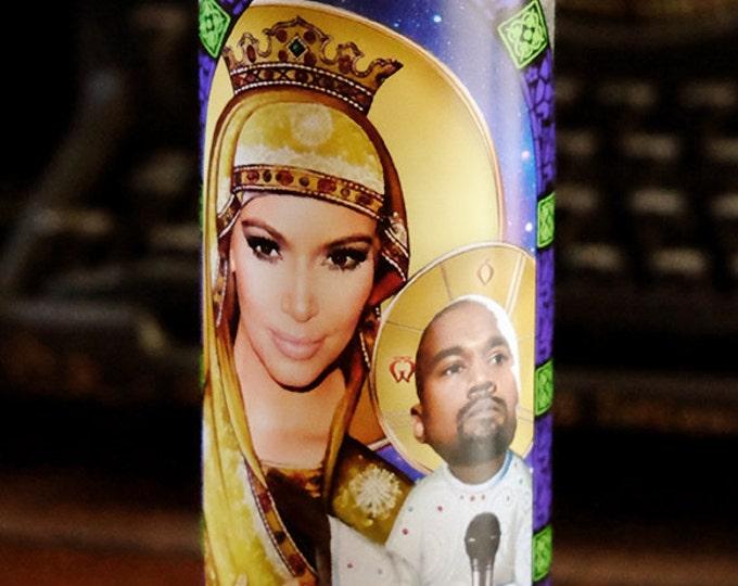 Saint Kim and Baby Yeezus Prayer Candle / Fan art / Parody art