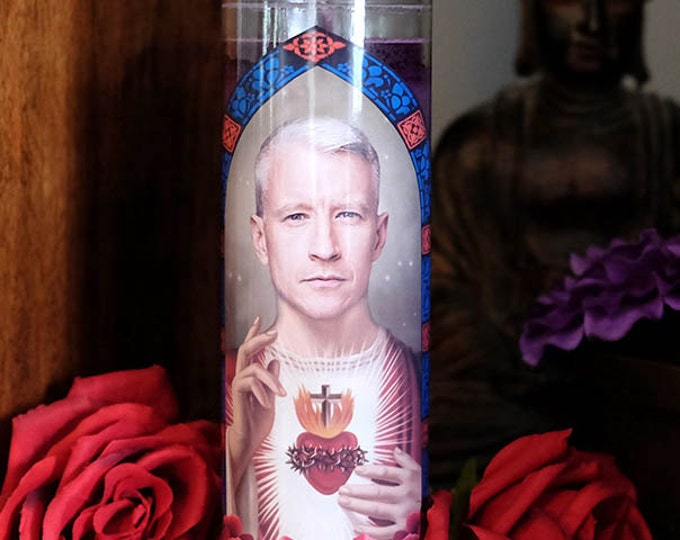 Patron Saint of Real News Prayer Candle / Silver Fox / Parody art