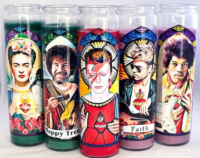 Patron Saints of Art and Music Prayer Candles / Parody Art / Digital Painting / Fan Art
