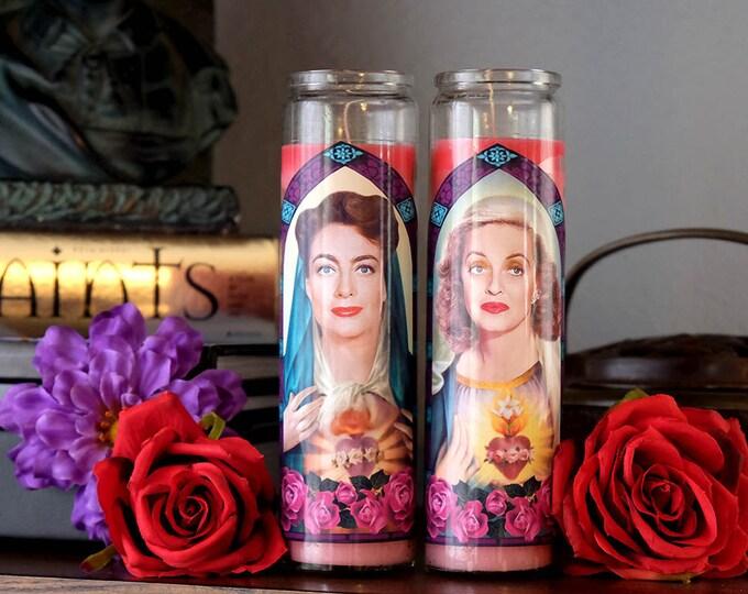 Saints Bette and Joan Prayer Candle Set / Bette Davis / Joan Crawford / Feud / Fan art / Parody art