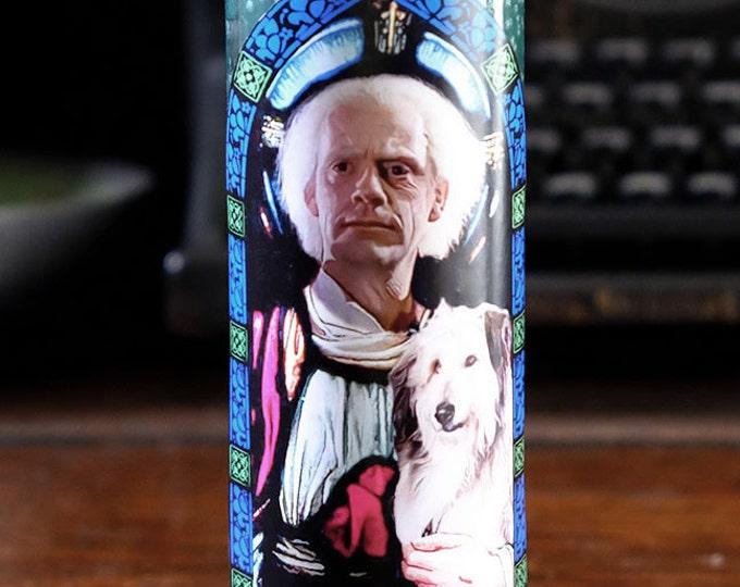 Saint Doc Brown Prayer Candle / Fan art / Parody art