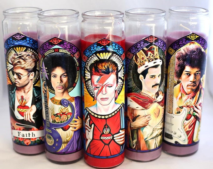 Patron Saints of Rock Prayer Candle / Parody Art / Digital Painting / Music Heroes
