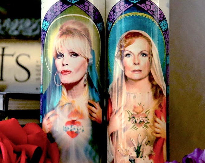 Saints Edina and Patsy Prayer Candle Set / Parody art