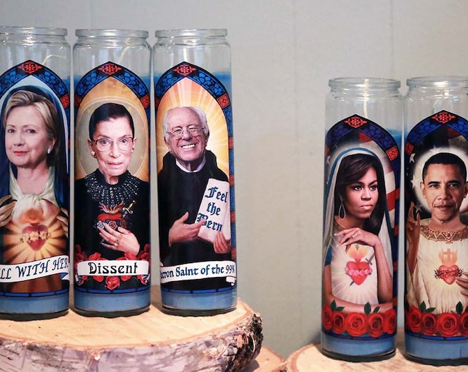 Fab Five Democratic Prayer Candle Set / Obamas / Hillary Clinton / Bernie / RBG / Parody art