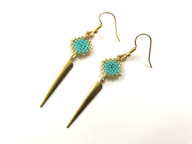 Turquoise Diamond Dagger Beaded Earrings image 0
