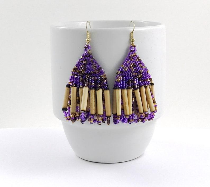 Purple Bamboo Chandelier Earrings image 0