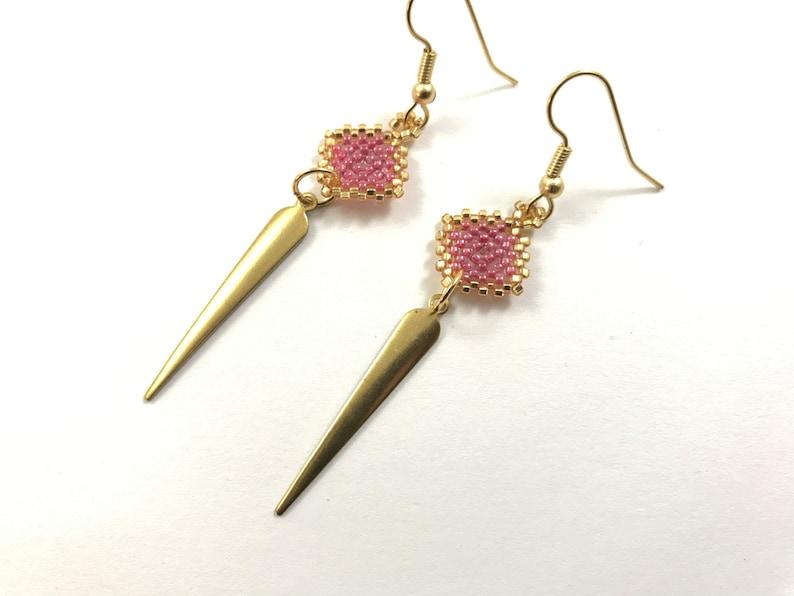 Pink Diamond Dagger Beaded Earrings image 0