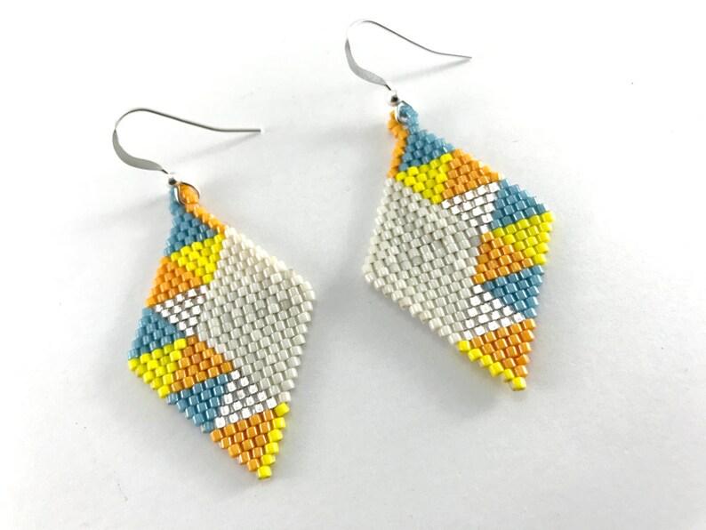 Geometric Triangle Diamond Dangle Earrings image 0