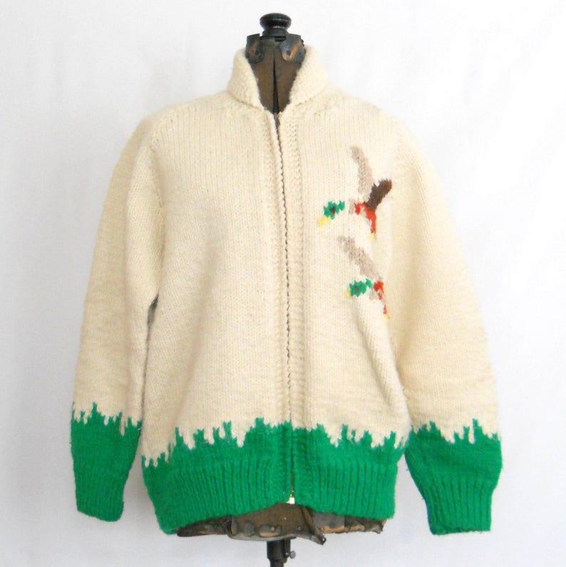 609a59d65 Vintage Cowichan Sweater Mallard Ducks Cardigan Sweater