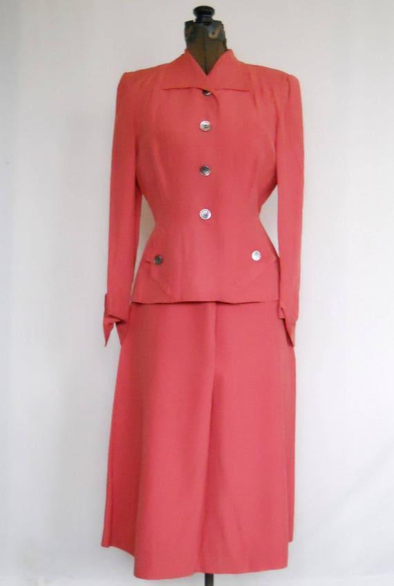 Authentic 1940s Ladies Rayon Suit Vintage Swansdo… - image 1