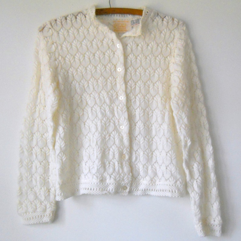 7e8ecc2fd Vintage Japan Cardigan Sweater White Montgomery Ward Sweater
