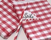 Paper Bags, 24 RED GINGHAM Favor Bags, Red Paper Bags, Farm Weddings, Candy Bags, Red Favor Bags, Gingham Picnic Food Bag, Red Check Bags