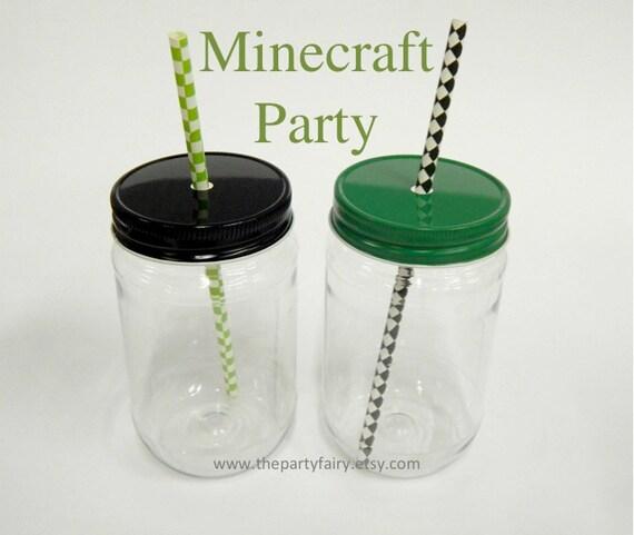 Plastic Mason Jars 15 Minecraft Party Mason Jars With Green Etsy
