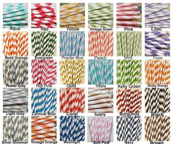 Paper Straws, Paper Drinking Straws, 50 Pick Your Color