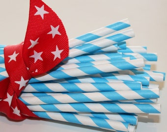 Paper Straws, MADE IN USA,  25 Carnival Blue Striped Paper Straw, Drinking Straws, Baby Shower, Wedding Paper Straws, Party Paper Straws