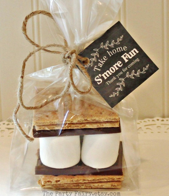 Rustic Fall Wedding Favor Ideas: S'mores Favor Tags Black Chalkboard Style S'mores