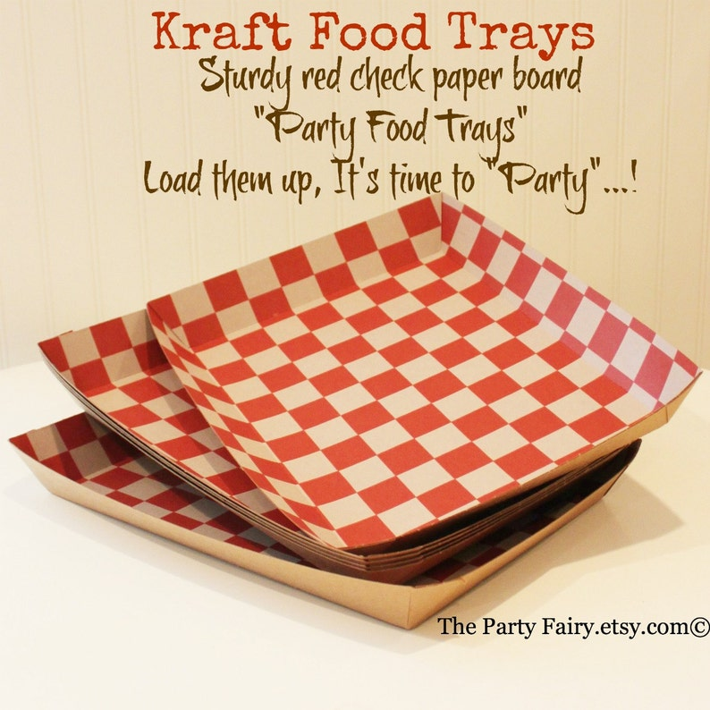 Paper Food Trays, Set of 10 Red Check Food Trays, Party Food Tray, Drink  and Food Carrier, Party Snack Tray, Lunch Trays, Buffet Plate Tray