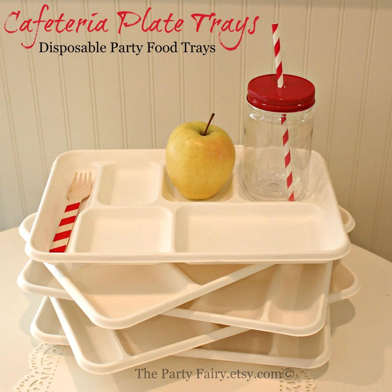 $11.95 & Food Trays 10 Disposable Food Trays Disposable Plates Cafeteria ...