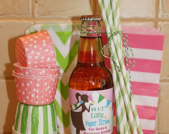 EXTRA LONG Paper STRAWS - Pick your Color. ( 25 ct ) 10 1/2 Inch Long Striped Paper Straws for Tall Soda Bottles - Wedding, Party,