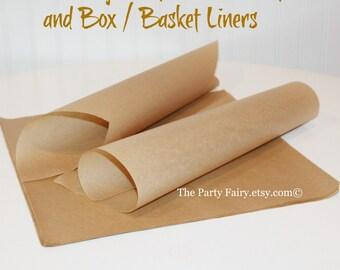 Brown Kraft Paper Food Wraps,25 Sandwich Paper,Food Basket Liner, Food Box Liner, Deli Paper Wrap, Lunch Box Paper Liners, Paper Food Liners