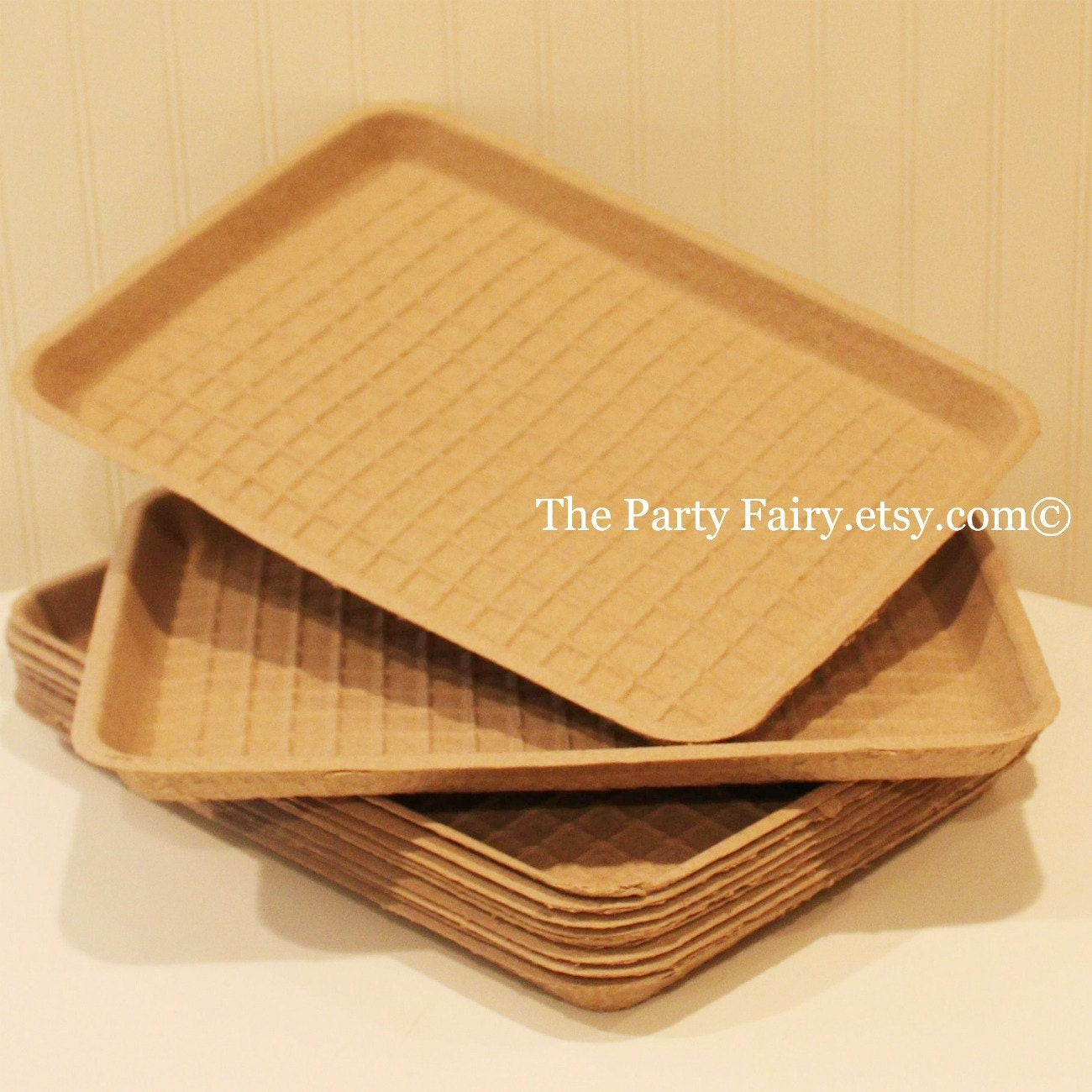 Brown Kraft Cardboard Food Tray 6 Paper Food Trays Strong