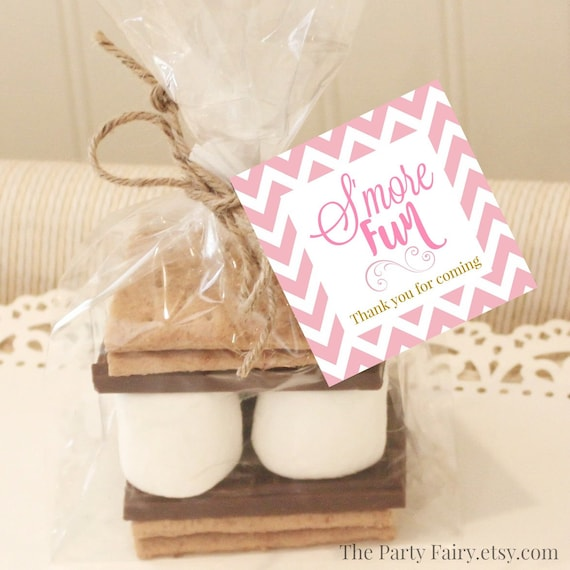 Smores Wedding Favors: 20 S'mores Favor Tags Pink S'mores Favor Tags Baby