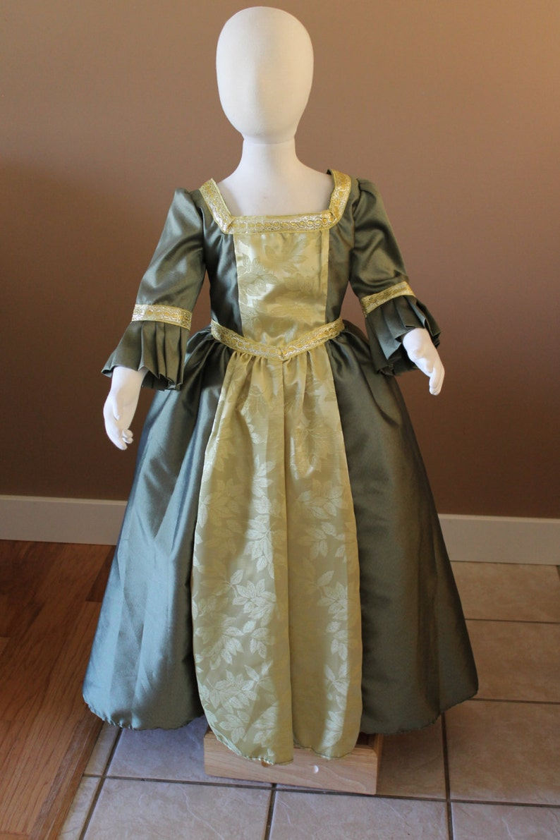 c4754ef4d5eb Olive and Gold Marie Antionette Childs Fairy Tale Dress Tudor | Etsy