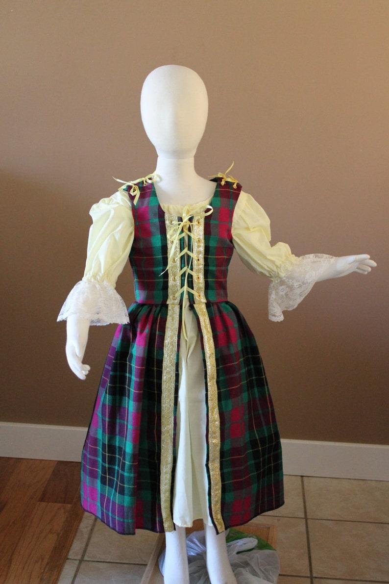737c90ba396a Plaid Renaissance Dress Up Costume Childs Fairy Tale Dress | Etsy