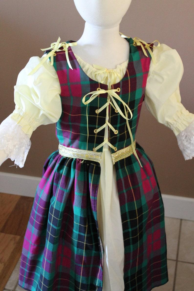 04de5a91a949 Plaid Irish Style Childs Fairy Tale Dress Tudor Renaissance | Etsy